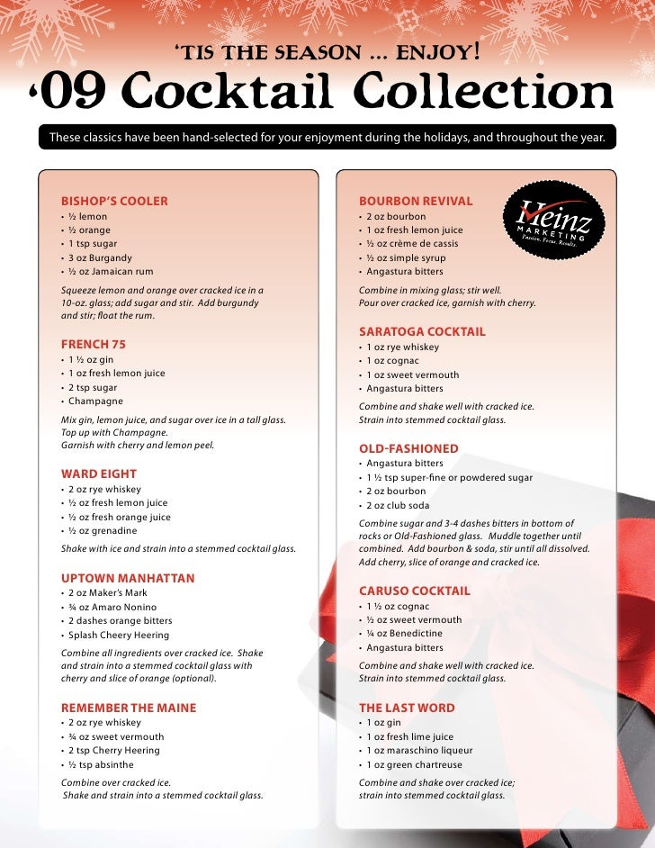 'Tis The season … enjoy!'09 Cocktail CollectionThese classics have been hand-selected for your enjoyment during the holida...