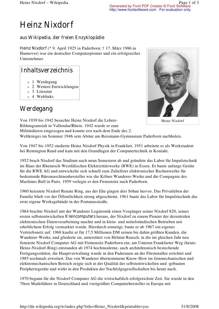 Heinz Nixdorf – Wikipedia                                                                 Page 1 of 3                     ...