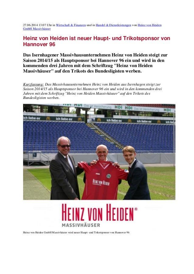 27.06.2014 13:07 Uhr in Wirtschaft & Finanzen und in Handel & Dienstleistungen von Heinz von Heiden GmbH Massivhäuser Hein...