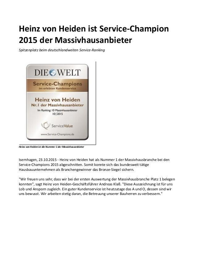 Heinz von Heiden ist Service-Champion 2015 der Massivhausanbieter Spitzenplatz beim deutschlandweiten Service-Ranking Hein...