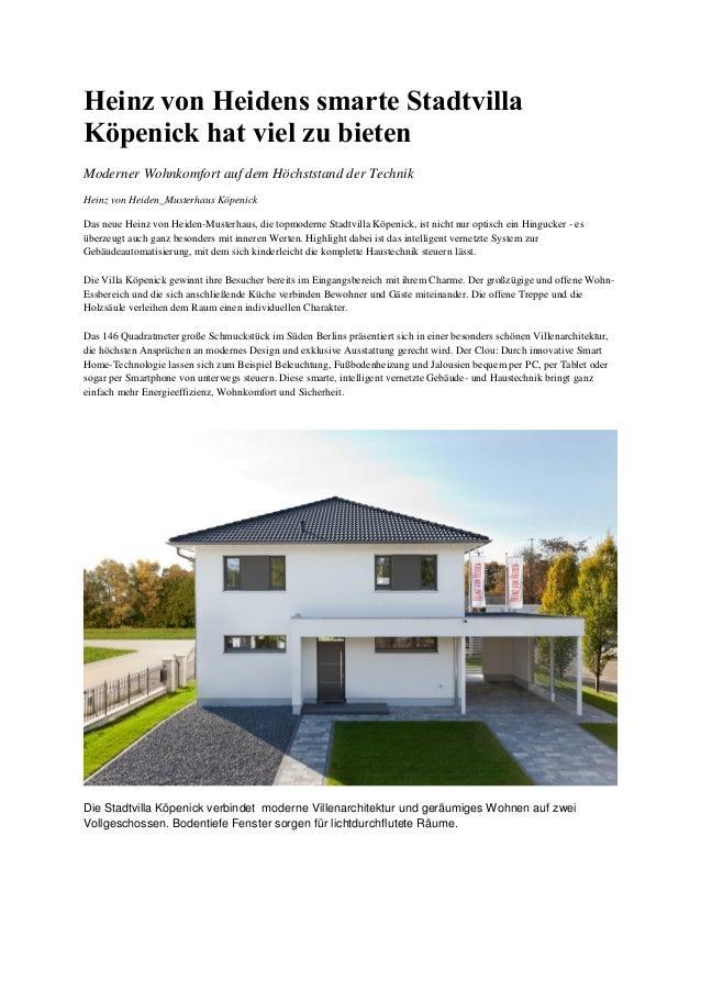 Heinz von Heidens smarte Stadtvilla Köpenick hat viel zu bieten Moderner Wohnkomfort auf dem Höchststand der Technik Heinz...