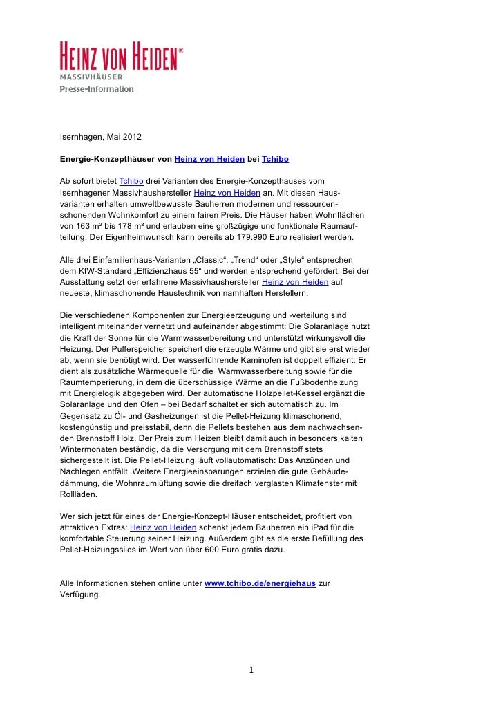 Presse-InformationIsernhagen, Mai 2012Energie-Konzepthäuser von Heinz von Heiden bei TchiboAb sofort bietet Tchibo drei Va...