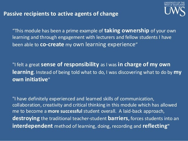 From Student Engagement To Agency Embedding Reflective Practice In