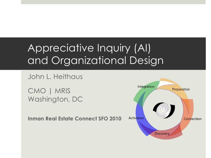 Appreciative Inquiry (AI) and Organizational Design John L. Heithaus CMO | MRIS Washington, DC   Inman Real Estate Connect...