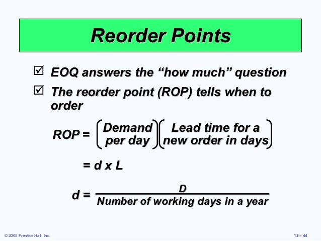reorder point formula