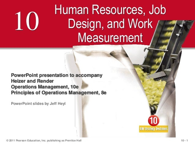 10 - 1© 2011 Pearson Education, Inc. publishing as Prentice Hall10Human Resources, JobDesign, and WorkMeasurementPowerPoin...
