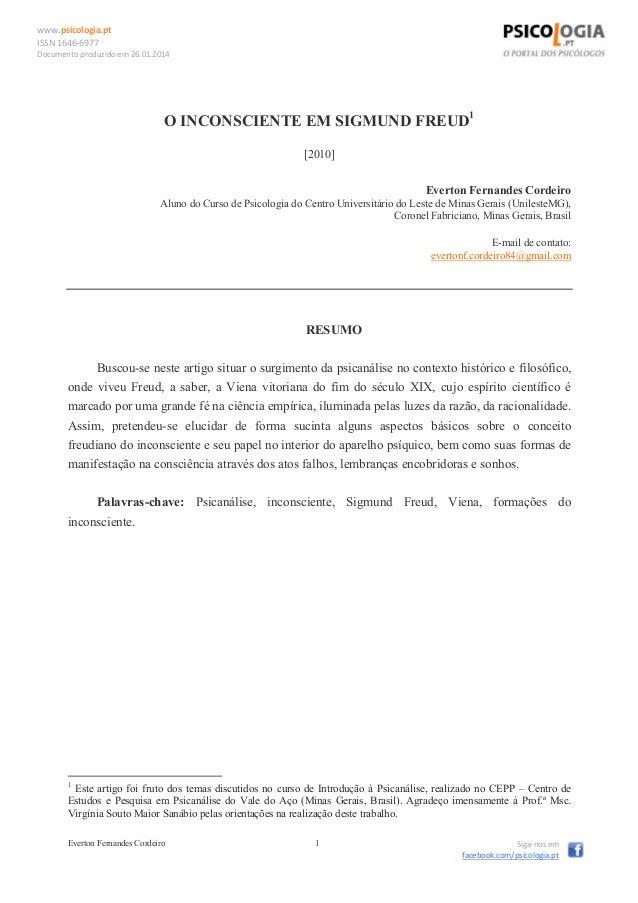 www.psicologia.pt ISSN 1646-6977 Documento produzido em 26.01.2014 Everton Fernandes Cordeiro 1 Siga-nos em facebook.com/p...