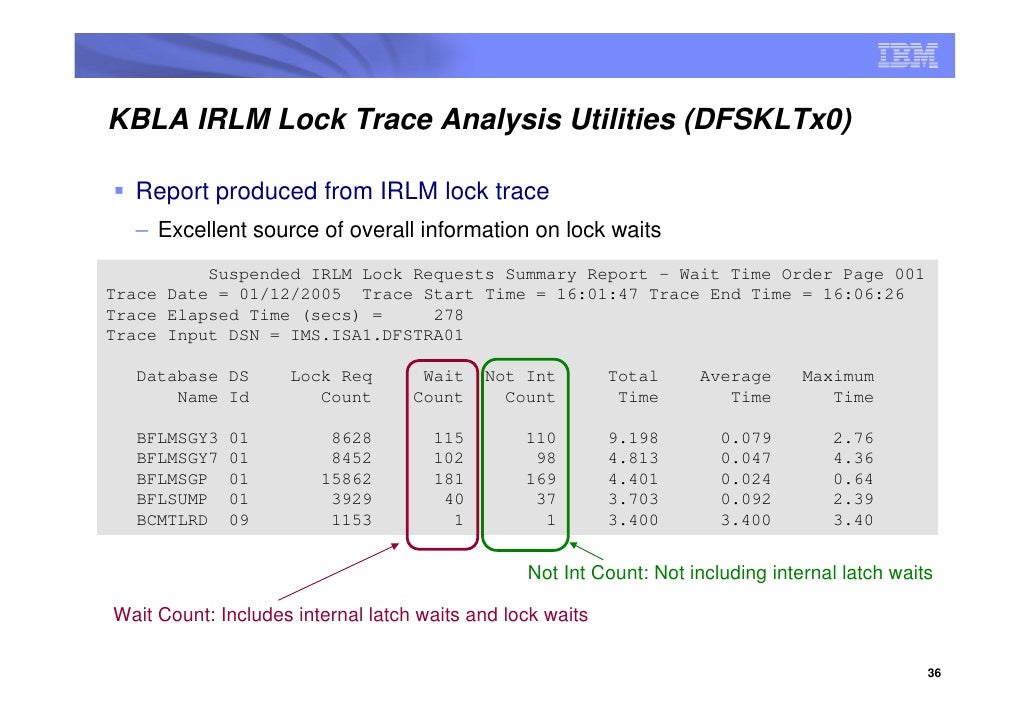KBLA IRLM Lock Trace Analysis Utilities (DFSKLTx0)    Report produced from IRLM lock trace   – Excellent source of overall...