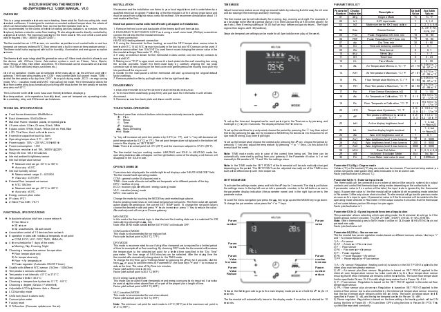 HEL-ZW-THERM-FL2 Manual