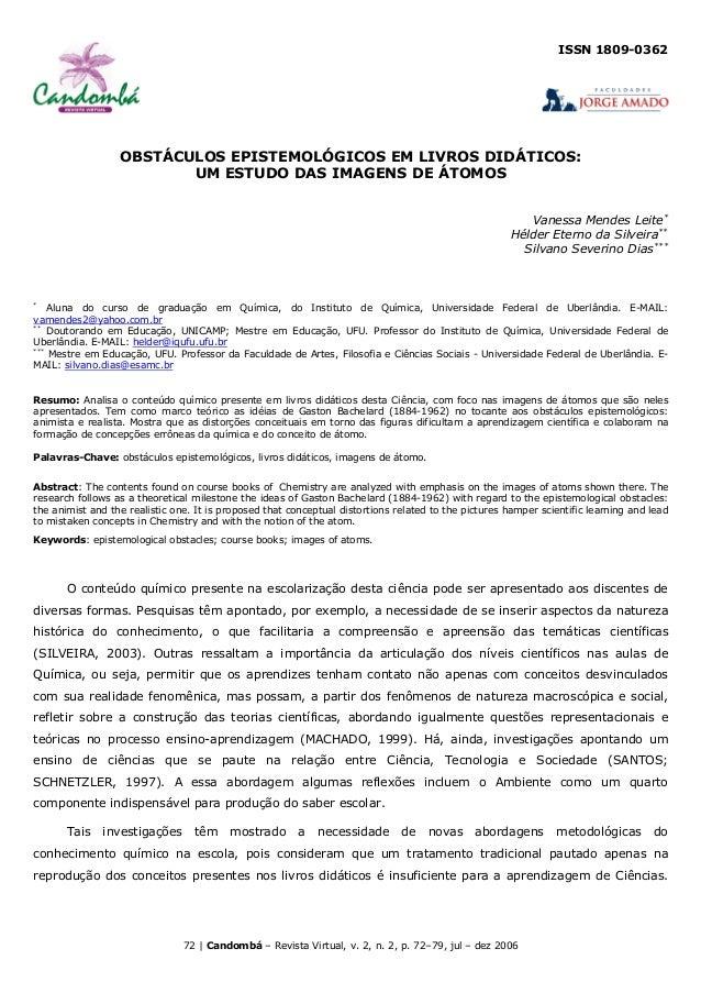 ISSN 1809-0362                  OBSTÁCULOS EPISTEMOLÓGICOS EM LIVROS DIDÁTICOS:                         UM ESTUDO DAS IMAG...