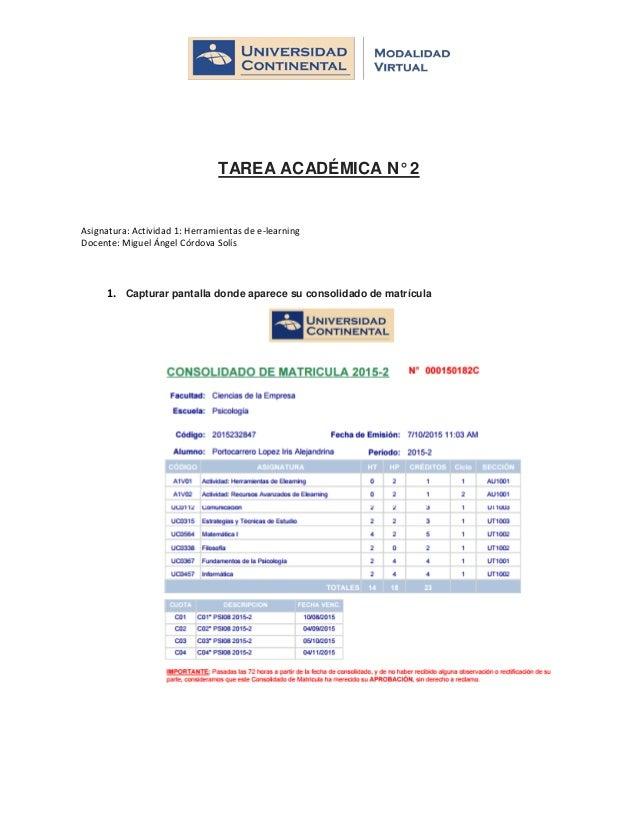 TAREA ACADÉMICA N° 2 Asignatura: Actividad 1: Herramientas de e-learning Docente: Miguel Ángel Córdova Solís 1. Capturar p...