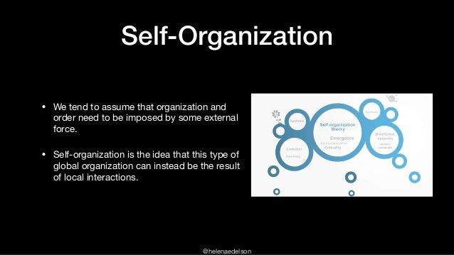 @helenaedelson Self-Organization • We tend to assume that organization and order need to be imposed by some external force...