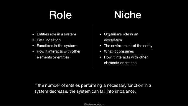 @helenaedelson Role Niche • Organisms role in an ecosystem  • The environment of the entity   • What it consumes  • How it...