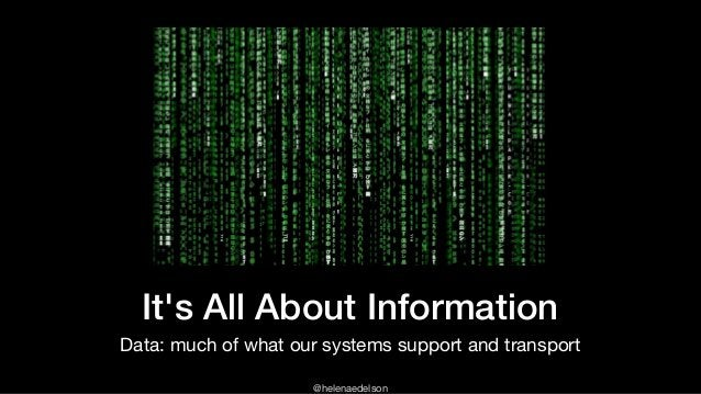 @helenaedelson It's All About Information Data: much of what our systems support and transport