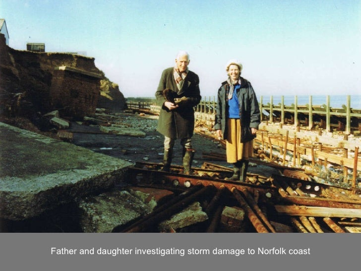 Father and daughter investigating storm damage to Norfolk coast