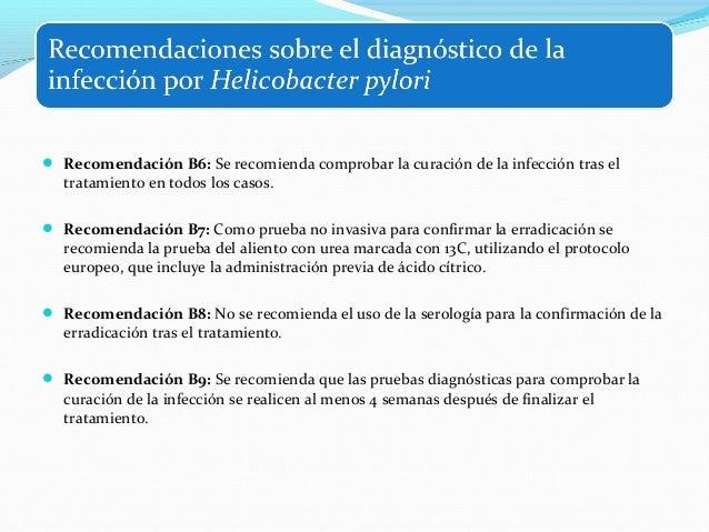  Recomendación C1: Como tratamiento de primera línea de la infección por H. pylori se  sugiere una pauta cuádruple concom...
