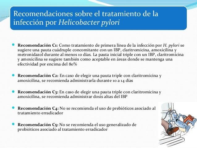  Recomendación C6: Tras el fracaso de un primer tratamiento que incluya claritromicina, se  recomienda una pauta triple c...