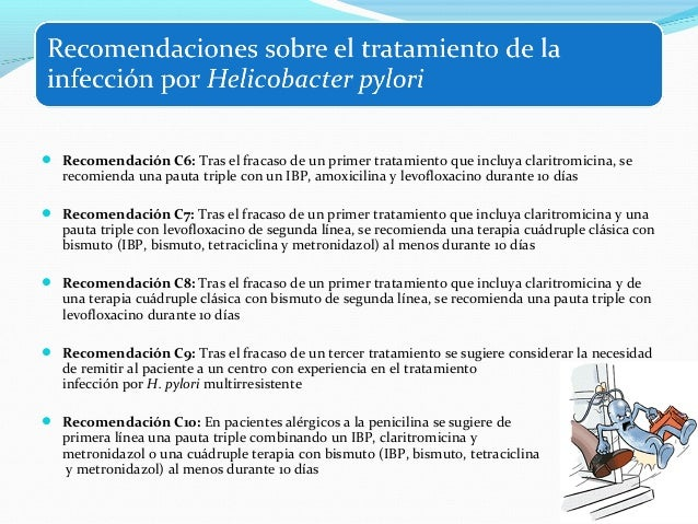 Recomendación C11: Tras el fracaso del tratamiento de primera línea en pacientes alérgicos a  la penicilina se sugiere u...