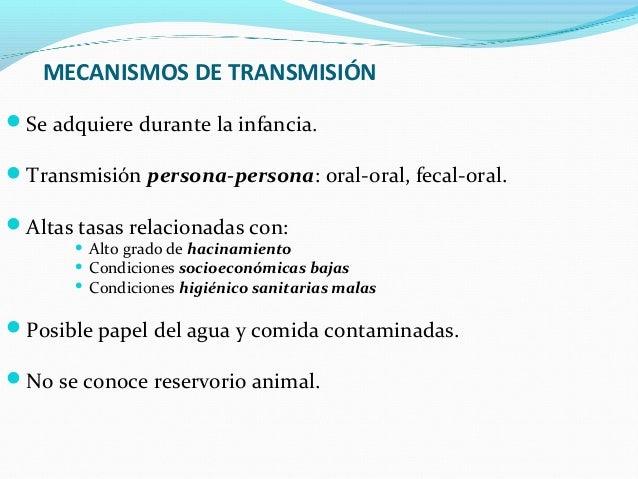 MECANISMOS DE TRANSMISIÓN  Se adquiere durante la infancia.  Transmisión persona-persona: oral-oral, fecal-oral.  Altas...