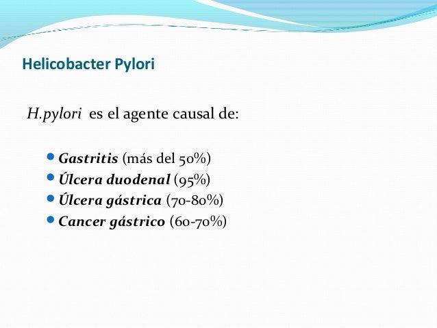Helicobacter Pylori  H.pylori es el agente causal de:  Gastritis (más del 50%)  Úlcera duodenal (95%)  Úlcera gástrica ...