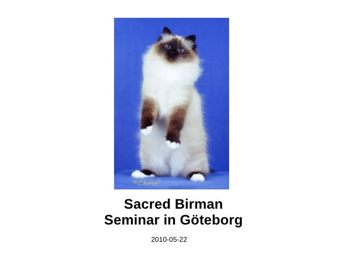 Sacred Birman Seminar in Göteborg <ul><li>2010-05-22 </li></ul>