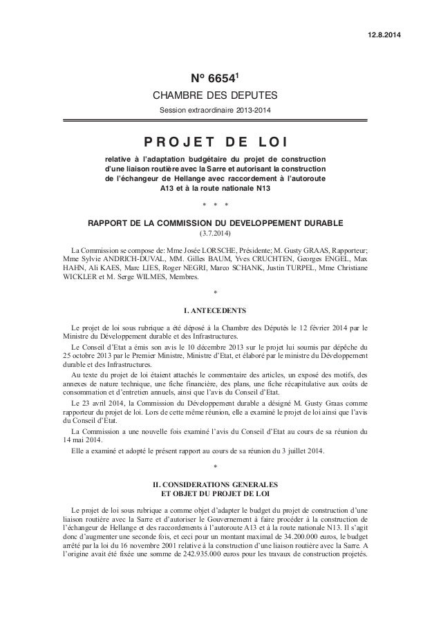 No 66541 CHAMBRE DES DEPUTES Session extraordinaire 2013-2014 P R O J E T D E L O I relative à l'adaptation budgétaire du ...