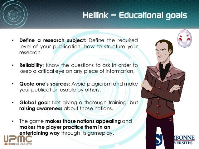 Hellink – Training in the humanities Beyond the use of this analytical eye in the sole scientific context, the game aims f...