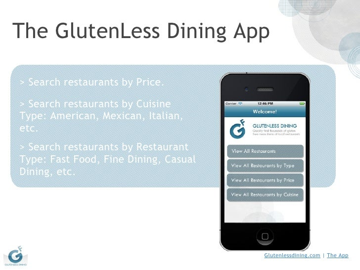 The GlutenLess Dining App >Search restaurants by Price. >Search restaurants by Cuisine Type: American, Mexican, Italian,...