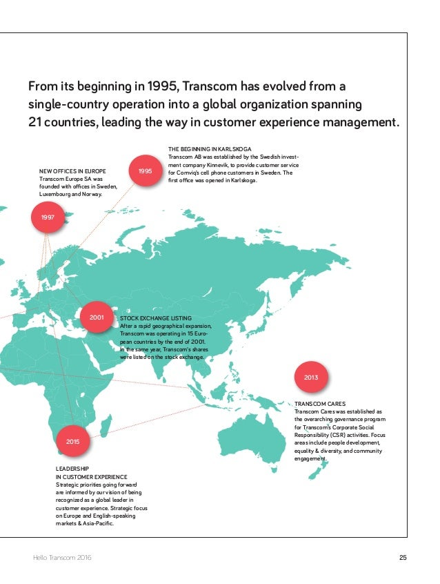 From its beginning in 1995, Transcom has evolved from a single-country operation into a global organization spanning 21 co...