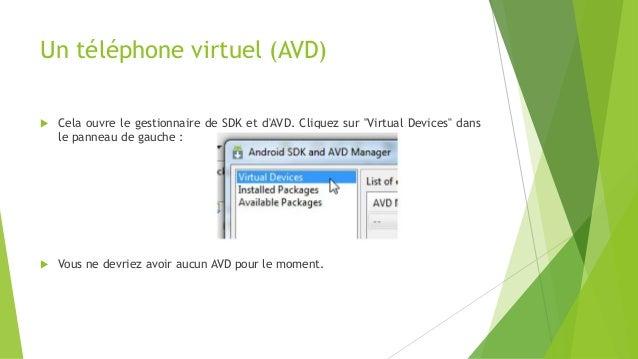 """Un téléphone virtuel (AVD)  Cela ouvre le gestionnaire de SDK et d'AVD. Cliquez sur """"Virtual Devices"""" dans le panneau de ..."""