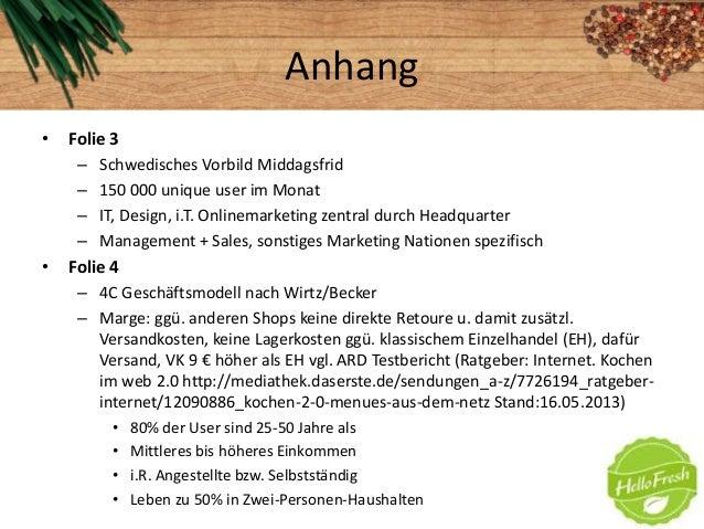 Anhang• Folie 3– Schwedisches Vorbild Middagsfrid– 150 000 unique user im Monat– IT, Design, i.T. Onlinemarketing zentral ...