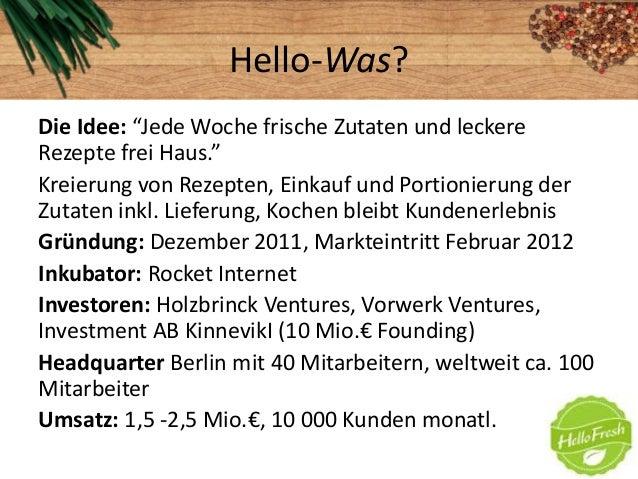 """Hello-Was?Die Idee: """"Jede Woche frische Zutaten und leckereRezepte frei Haus.""""Kreierung von Rezepten, Einkauf und Portioni..."""