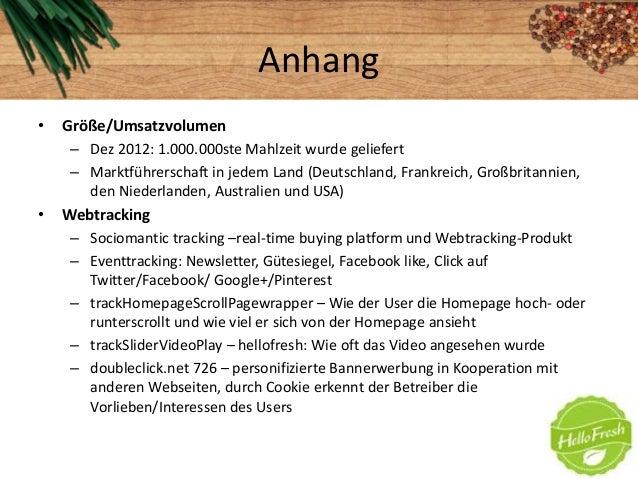 Anhang• Größe/Umsatzvolumen– Dez 2012: 1.000.000ste Mahlzeit wurde geliefert– Marktführerschaft in jedem Land (Deutschland...