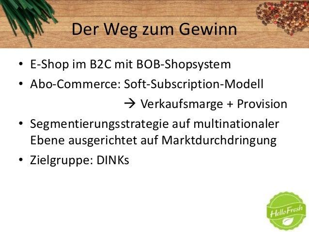 Der Weg zum Gewinn• E-Shop im B2C mit BOB-Shopsystem• Abo-Commerce: Soft-Subscription-Modell Verkaufsmarge + Provision• S...