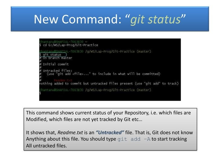 """New Command: """"git status""""This command shows current status of your Repository, i.e. which files areModified, which files a..."""