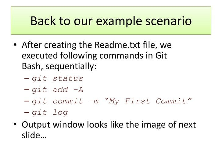 Back to our example scenario• After creating the Readme.txt file, we  executed following commands in Git  Bash, sequential...