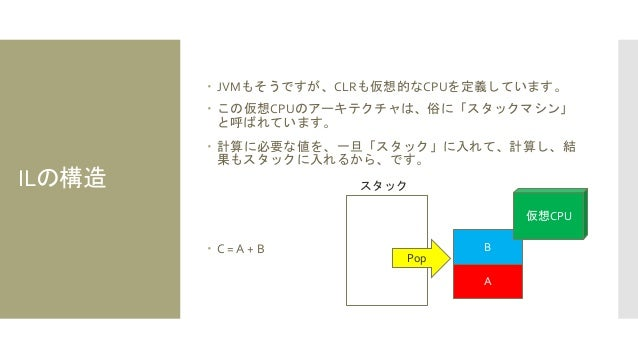 ILの構造  JVMもそうですが、CLRも仮想的なCPUを定義しています。  この仮想CPUのアーキテクチャは、俗に「スタックマシン」 と呼ばれています。  計算に必要な値を、一旦「スタック」に入れて、計算し、結 果もスタックに入れるから...