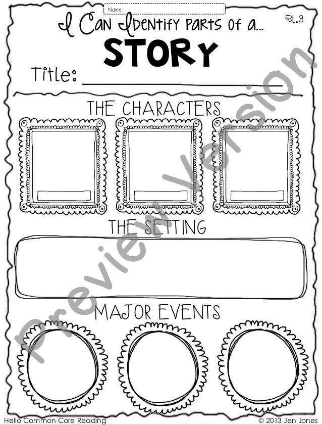 Hello Common Core Reading © 2013 Jen Jones Story THE CHARACTERS THE SETTING MAJOR EVENTS RL.3 Name: I Can Identify parts o...