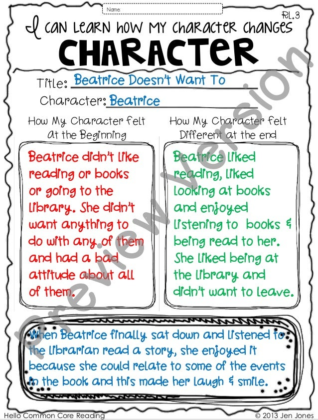 Hello Common Core Reading © 2013 Jen Jones I can learn how my character changes CHARACTER RL.3 Name: Character: Title: How...