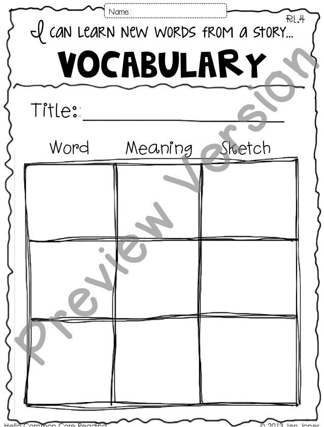 I can learn new words from a story… Vocabulary RL.4 Title:: Name: Word Meaning Sketch