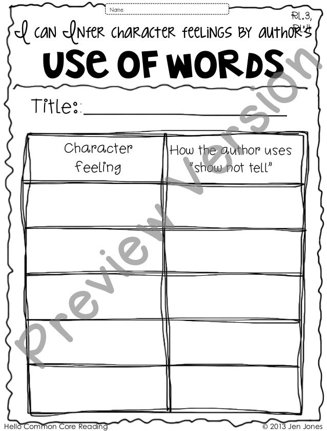 Hello Common Core Reading © 2013 Jen Jones I can Infer character feelings by author's Use of words RL.3, RL.4 Title:: Name...
