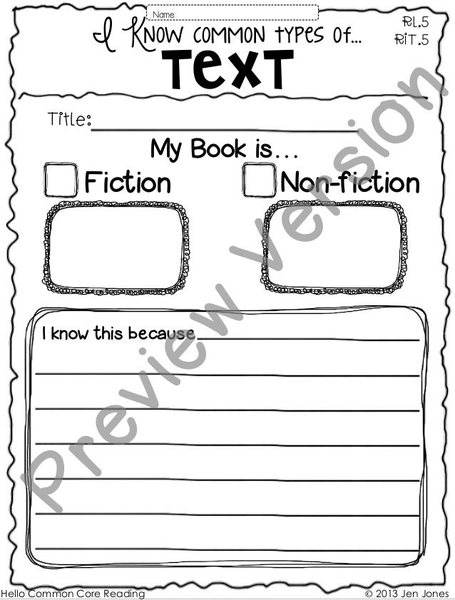 I Know common types of… Text My Book is… Fiction Non-fiction RL.5 RIT.5 I know this because Name: Title: Hello Common Core...