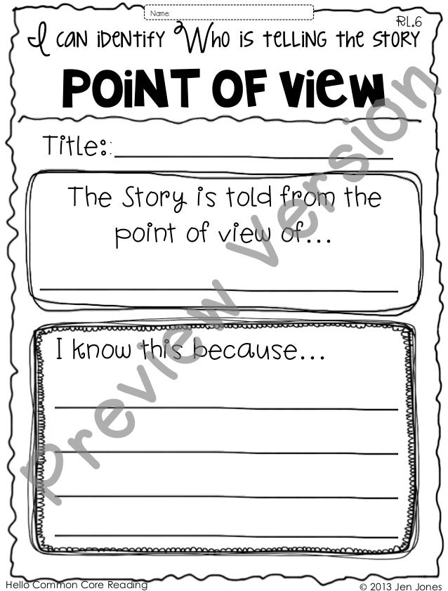 Hello Common Core Reading © 2013 Jen Jones I can identify Who is telling the story POINT of view RL.6 Title:: I know this ...