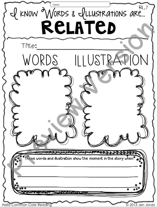Hello Common Core Reading © 2013 Jen Jones WORDS IllUSTRATION I know Words & Illustrations are… Related These words and il...