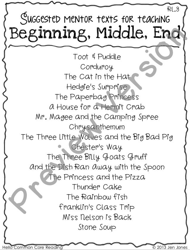 Hello Common Core Reading © 2013 Jen Jones RL.3 Suggested mentor texts for teaching Beginning, Middle, End Toot & Puddle C...