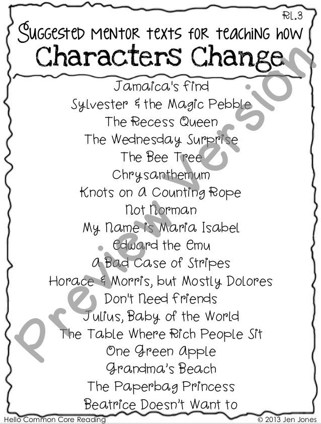 Hello Common Core Reading © 2013 Jen Jones RL.3 Suggested mentor texts for teaching how Characters Change Jamaica's Find S...