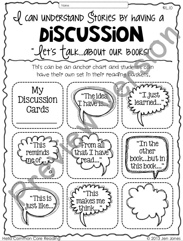 "Hello Common Core Reading © 2013 Jen Jones I can understand Stories by having a Discussion RL.10 ""Let's Talk…about our boo..."