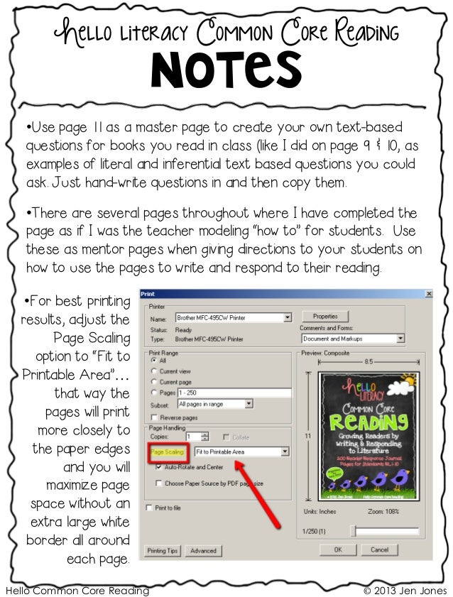Hello Common Core Reading © 2013 Jen Jones Hello literacy Common Core Reading Notes •Use page 11 as a master page to creat...