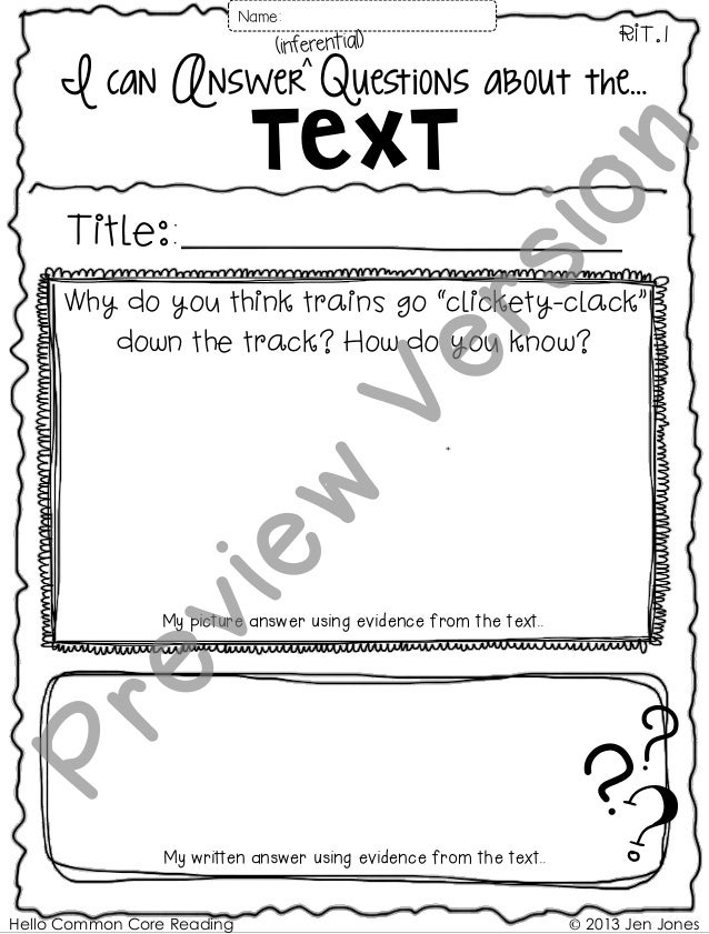 """© 2013 Jen Jones I can Answer Questions about the… Text RIT.1 Title:: Why do you think trains go """"clickety-clack"""" down the..."""