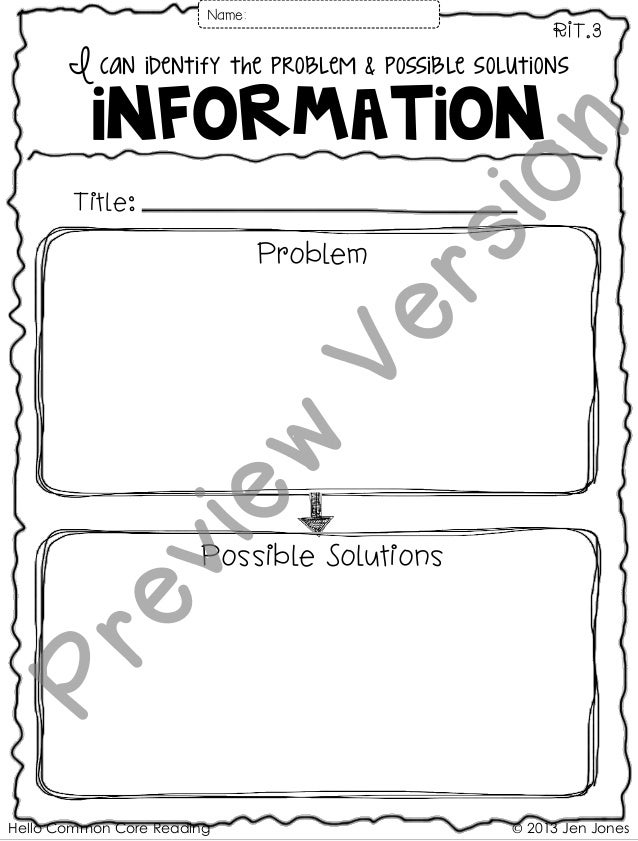 Hello Common Core Reading © 2013 Jen Jones I can identify the problem & possible solutions information RIT.3 Title: Name: ...